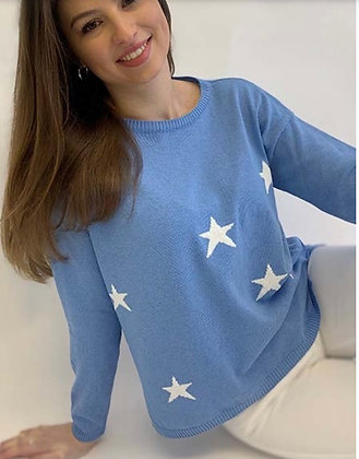 Luella Scatter Star Cotton Sweater Azure Blue