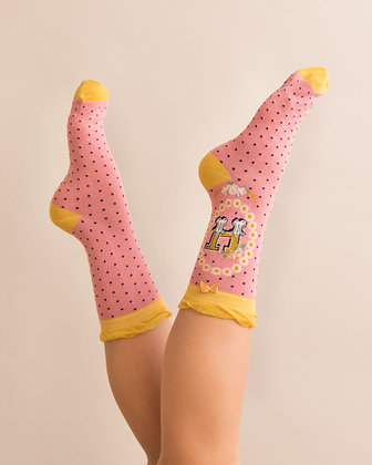 Powder Bamboo Initial Socks. H.
