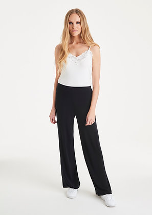 A Postcard From Brighton Black Pally Wide Leg Trousers.