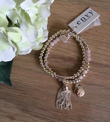 Envy Double Strand Tassel Bracelet.  Gold.