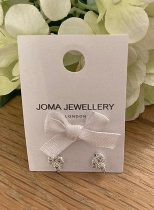 Joma Crystal Leaf Earrings Silver Plated