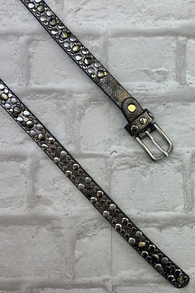 Studded Silver Leather Belt