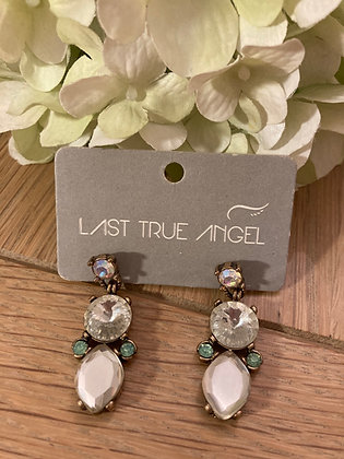 Last True Angel Statement Earrings With Clear, Mirrored and Green Stones