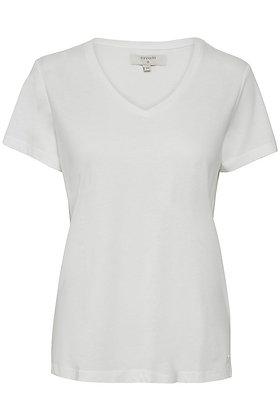 Cream Clothing Naia V-neck T-shirt. Ivory