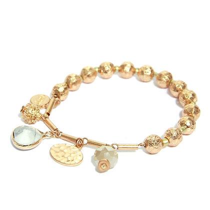 Envy Gold Bead bracelet with White AgateDrop