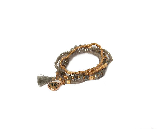 Envy Grey and Gold bracelet with Dalmatian Drop