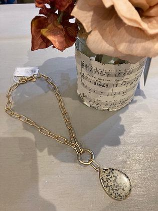 Heavy Gold Chain Necklace with Dalmatian Jasper Pendant
