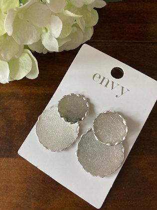 Envy Brushed Silver Disk Earrings