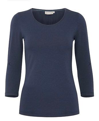 Fransa Organic Cotton sleeved T Shirt Navy