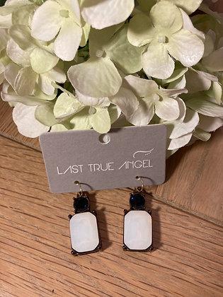 Last True Angel Deco Earrings Opal With Navy Blue