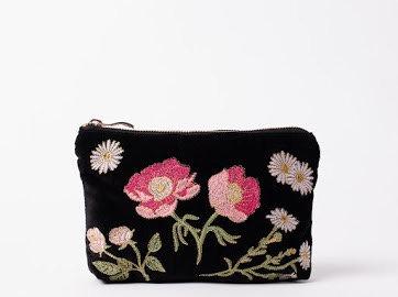 Elizabeth Scarlett British Blooms Velvet Make up Bag