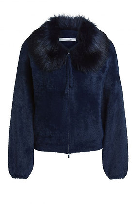 Oui Navy Zip Jacket with Faux fur Collar