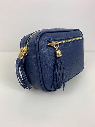 Leather Camera Bag Navy