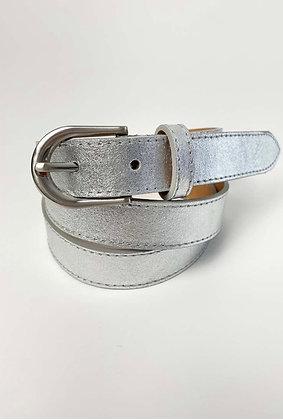 Luella Slim leather Belt Silver