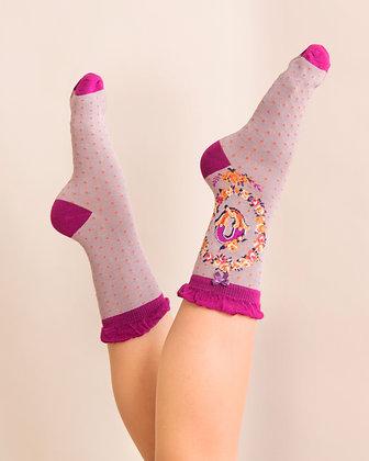 Powder Bamboo Initial Socks. Q.