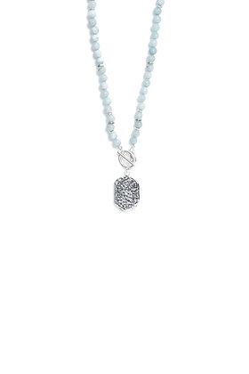 Envy Semiprecious Short Necklace With Silver Pendant