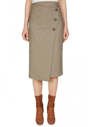Oui Houndstooth Skirt With Buttons