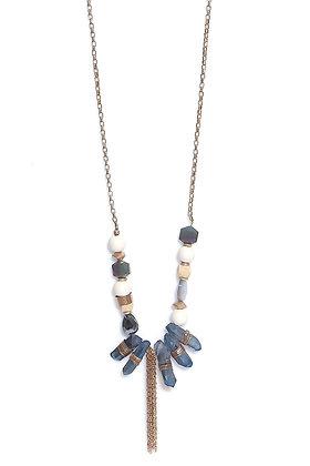 Envy Blue and Cream Necklace with Semi Precious Stones