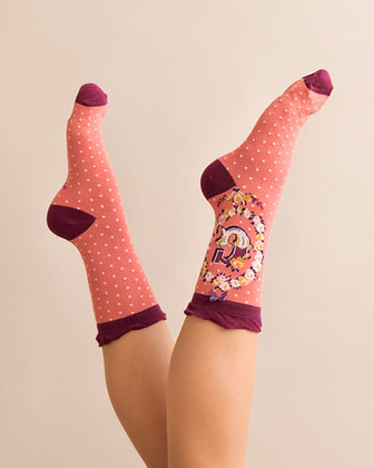 Powder Bamboo Initial Socks. G.