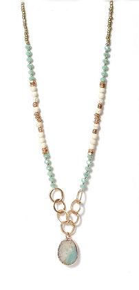 Envy Long Beaded Necklace in Aqua and Cream