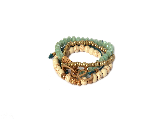 Envy Green White and Gold multistrand bracelet with tie .