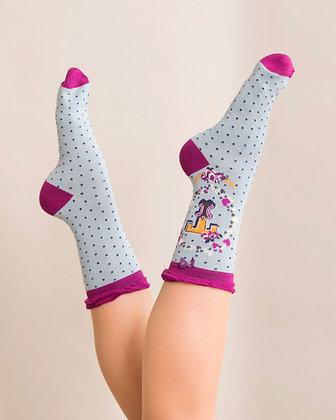 Powder Bamboo Initial Socks. T.