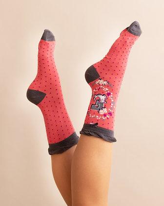 Powder Bamboo Initial Socks. E.