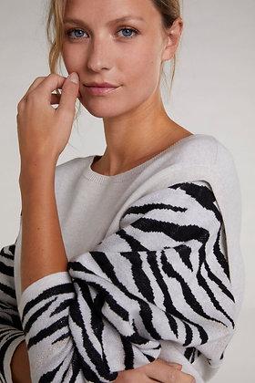 Oui Sweater with Zebra Sleeve
