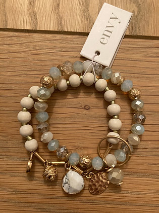 Envy Grey Faceted and White Bead Bracelet