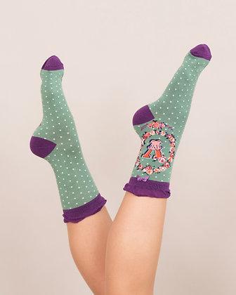 Powder Bamboo Initial Socks. V.
