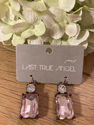 Last True Angel Deco Earrings Pink and Clear