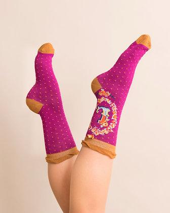 Powder Bamboo Initial Socks. L.