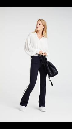 Yaya Side Stripe Stretch Navy Trousers