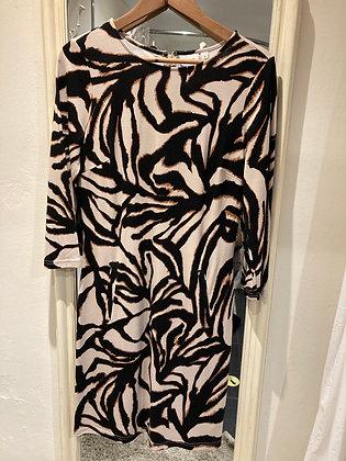 Saint Tropez Jersey dress Black Ecru Tan