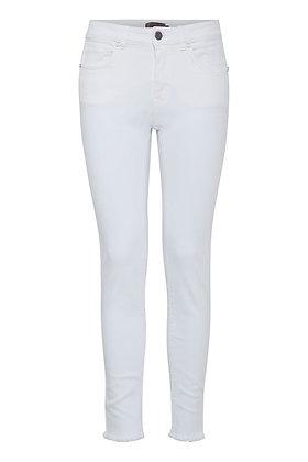 Fransa White Jeans with Frayed Hem