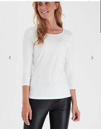 Fransa Organic Cotton sleeved T Shirt Off White