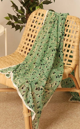 Mint and White Trimmed Leopard Scarf