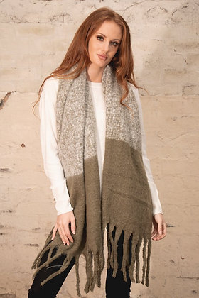 Khaki and Beige Supersoft Scarf