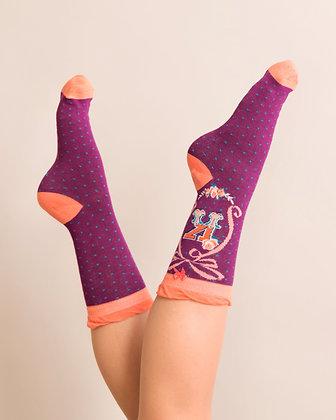Powder Bamboo Initial Socks. K.