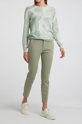 Yaya Printed Cotton Sweater Green Mix