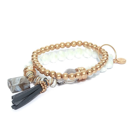 Envy White and Gold bead bracelet with Leather Tassel