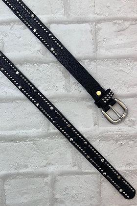 Studs and Stars Black Leather Belt