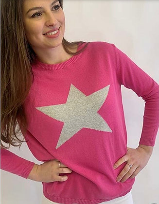 Luella Cotton Star Sweater HotPink/Silver