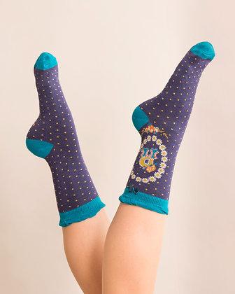 Powder Bamboo Initial Socks. R.
