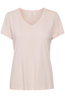 Cream Clothing Naia V-neck T-shirt. Dusky Pink