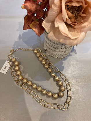 Envy Gold Bead and Chain Necklace