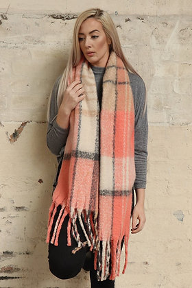Pink and Cream Blanket Scarf