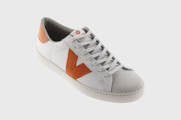 Victoria Contrast Stripe Leather Trainers Orange