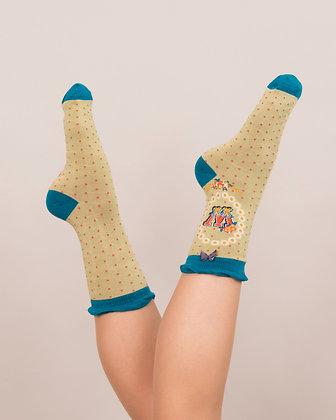 Powder Bamboo Initial Socks. W.