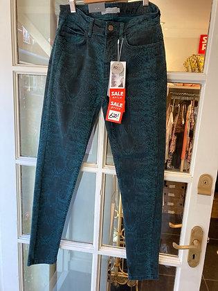 Fransa Teal Snakeprint Jeans